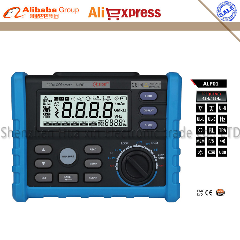 BSIDE ALP01 Circuit Breaker RCD Loop Tester Meter Trip-out Time & Current Voltage Frequency Loop Resistance Measurement with USB bow 929054
