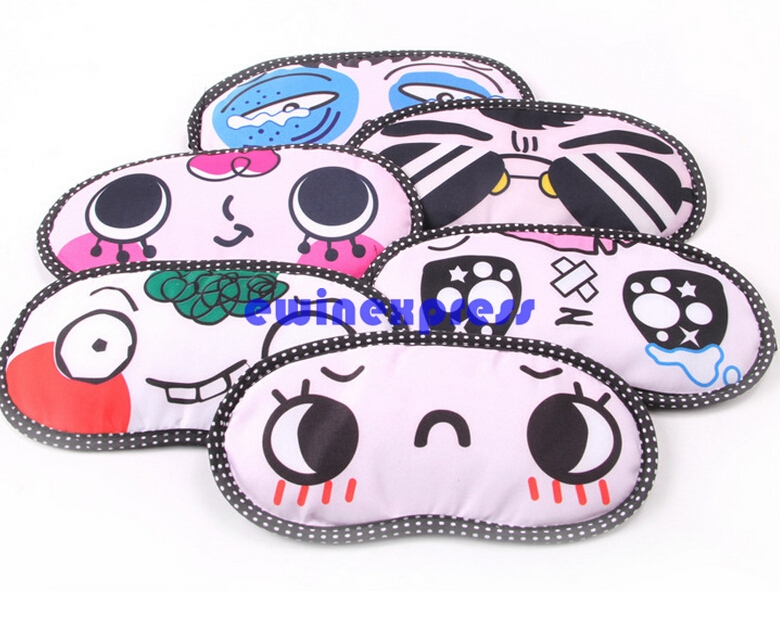 2 X Cute Cartoon Face Mask Blindfold Shade Travel Soft Sleep Cover Personality Eye Shade for Children Girl Gift