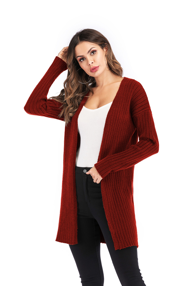 Fall Winter Cute Knitted Middle Long Ribbed Cardigan Dress for Women Kawaii Ladies Knit Drop Shoulder Sweater Coat Oversized S-L 11