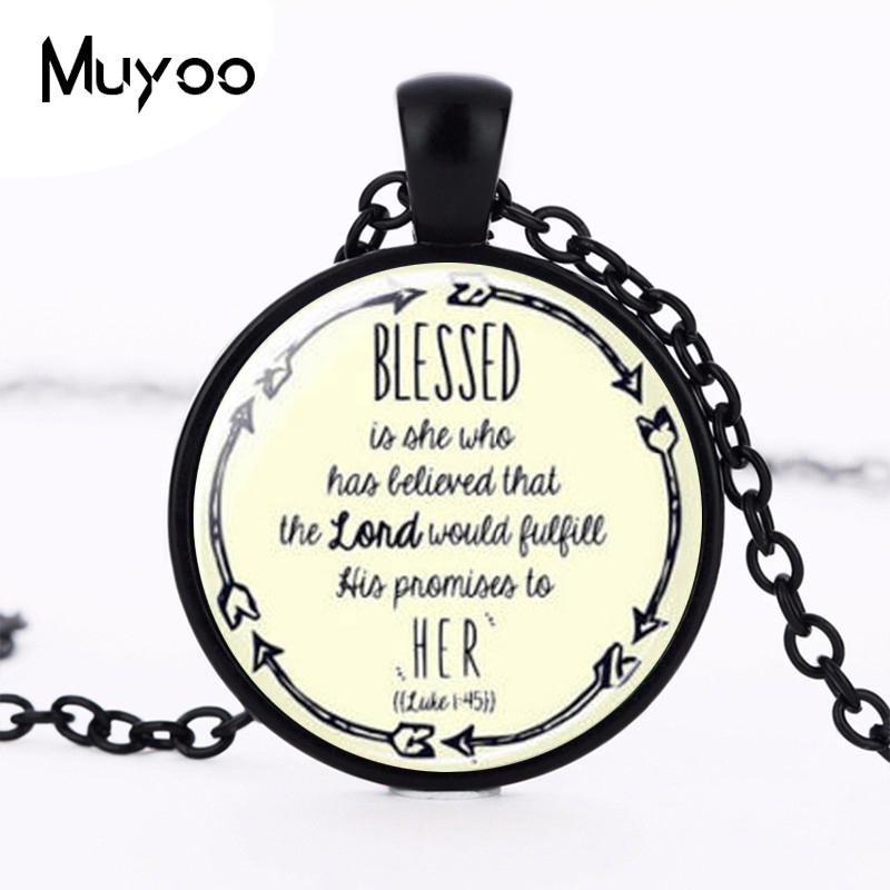 Wholesale Glass Dome Blessed Necklace Christian Pendant Necklace Scripture Jewelry Scripture Necklace HZ1