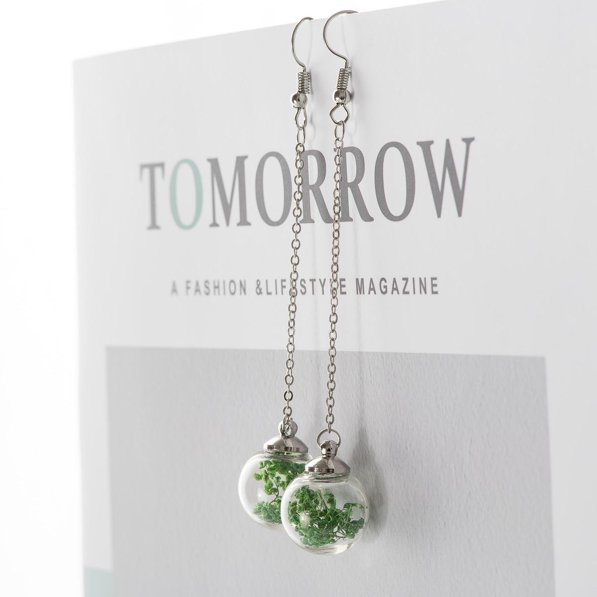 Flower Eardrop Dried Flower In Glass Ball Earrings Fantasy DIY Ear Lines Dangle Earring For Women #HZ229