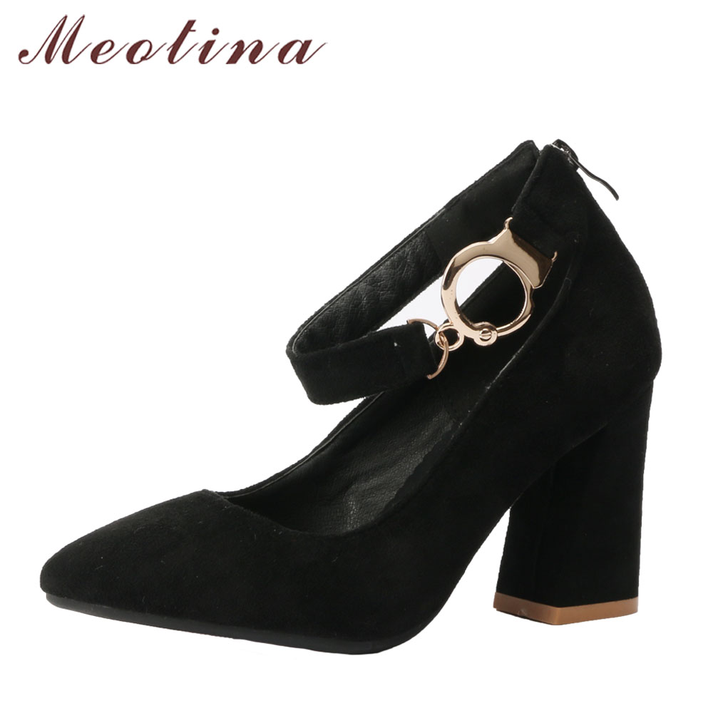 Meotina Women Pumps High Heels Buckle Shoes Pointed Toe Zip Party Shoes Chunky Heel Elegant Shoes Black 2018 New Large Size 45 meotina shoes women high heels ladies pumps big size 34 42 spring pointed toe mary jane career chunky high heel black lady shoes
