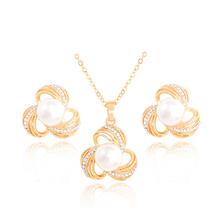 H:HYDE Luxury Bridal Party Jewelry Sets Flower Simulated pearl Necklace Chain Necklace Earrings Gold-color Jewelry Set For Women