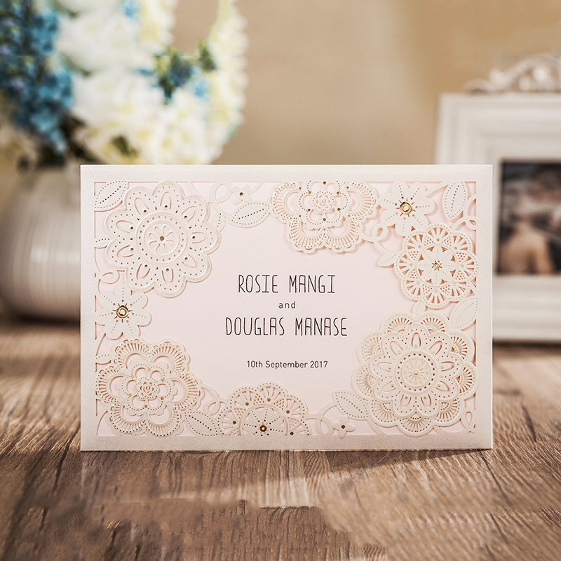Design Flower Laser Cut White Flower Lace Invitations Kit For Wedding Printing Invitation Card Set insert customize design laser cut lace flower bird gold wedding invitations kit paper blank convite casamento printing invitation card invite