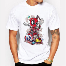 Fashion Men's Deadpool Print T Shirt Summer Style Short Sleeve T-shirt For Male Funny Who's Next Pattern Tops MEN Tee Shirts