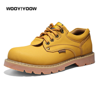 WOOY!YOOW 2018 New Men's Casual Martin Boots Genuine Leather Work Boots England Desert Boots Men's Low upper Boots Tooling Shoes