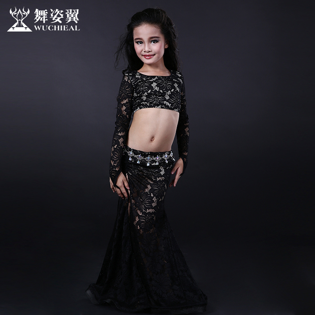 2016 offre spéciale coton danse du ventre Wuchieal marque 2018 nouveau enfant filles danse du ventre Costumes Top + jupe Costumes pour Oriental Rt087
