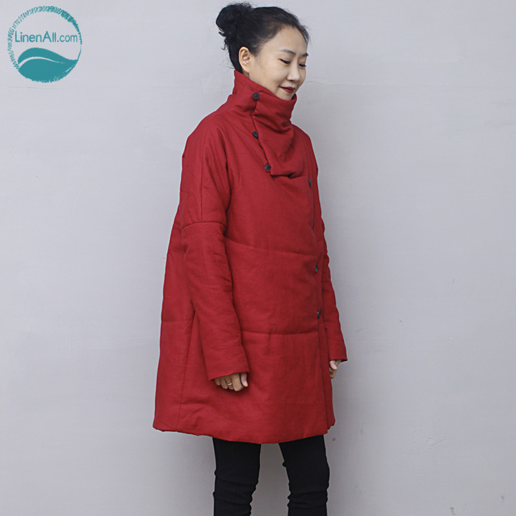 LinenAll original design women's red 100% hemp long cotton-padded jacket parkas coat BMF linenall parkas original design 2016 brief loose plus cotton cotton padded jacket cotton padded wadded jacket female zi
