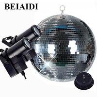 BEIAIDI Dia20CM 25CM 30CM Glass Mirror Balls Disco DJ Light With Motor RGB Spotlight Beam Pinspot Lamps Home Party Disco Light