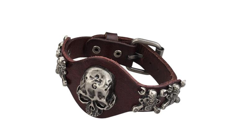 New Design Jewelry Multicolor Punk Rock Evil Skull Genuine Leather Wrap Bracelet for Women Men Ride Wristband Bracelets Cuff 10
