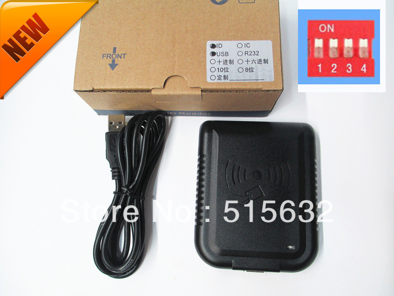New Security USB Proximity Sensor Smart RFID ID contactless Card Reader  DIP Switch Support 8-10 new rs232 new security black usb rfid proximity sensor smart id card reader 125khz em