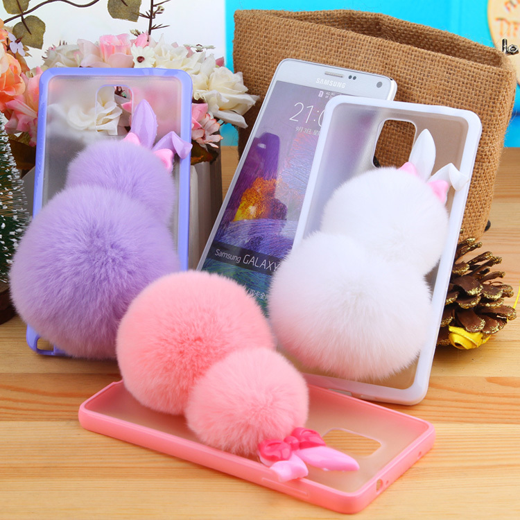 new product e7edd a55cc US $8.27 |New 2015 Fashion Fluffy Rex Rabbit Fur Hairs Balls Phone Case For  Samsung Galaxy Note 4 cases cell phones Protecter Fuzzy Cover on ...