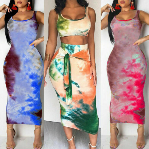 Printed Sexy Women Bodycon Slim Sleeveless Croped Tops + Long Skirts Party Clubwear Woman Female Summer Casual Streetwear