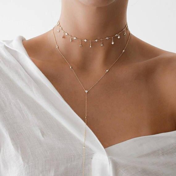 fashion elegant women wedding valentines gift gold silver color cz station statement choker cz drop delicate choker necklace new