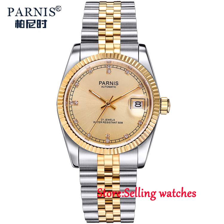 лучшая цена 36mm parnis golden dial 21 jewels miyota luminous marks automatic womens watch