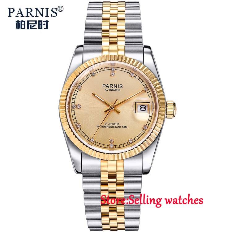 36mm parnis golden dial 21 jewels miyota luminous marks automatic womens watch 36mm debert golden dial 21 jewels miyota automatic diamond mens watch d11
