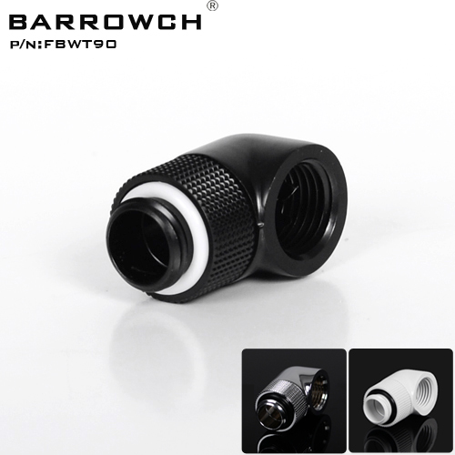 Barrowch Black White Silver G1/4'' thread 90 degree Rotary Fitting Adapter Rotating 90 degrees water cooling Adaptors FBWT90 4 3 convenient single way revolving rotating fishing thread reel black silver