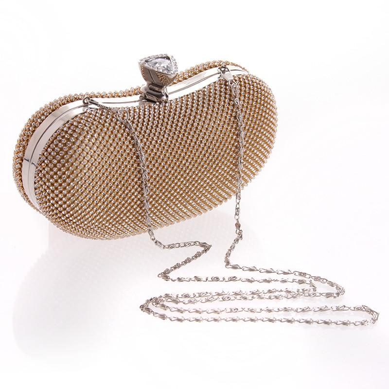 Mariée Black Hasp Messenger Shell À Chaîne D'épaule Métal Mariage En Rabat Cristal Mode Sac D'embrayage Soirée De Femmes gold Solide Main 1nTHTwqp0O