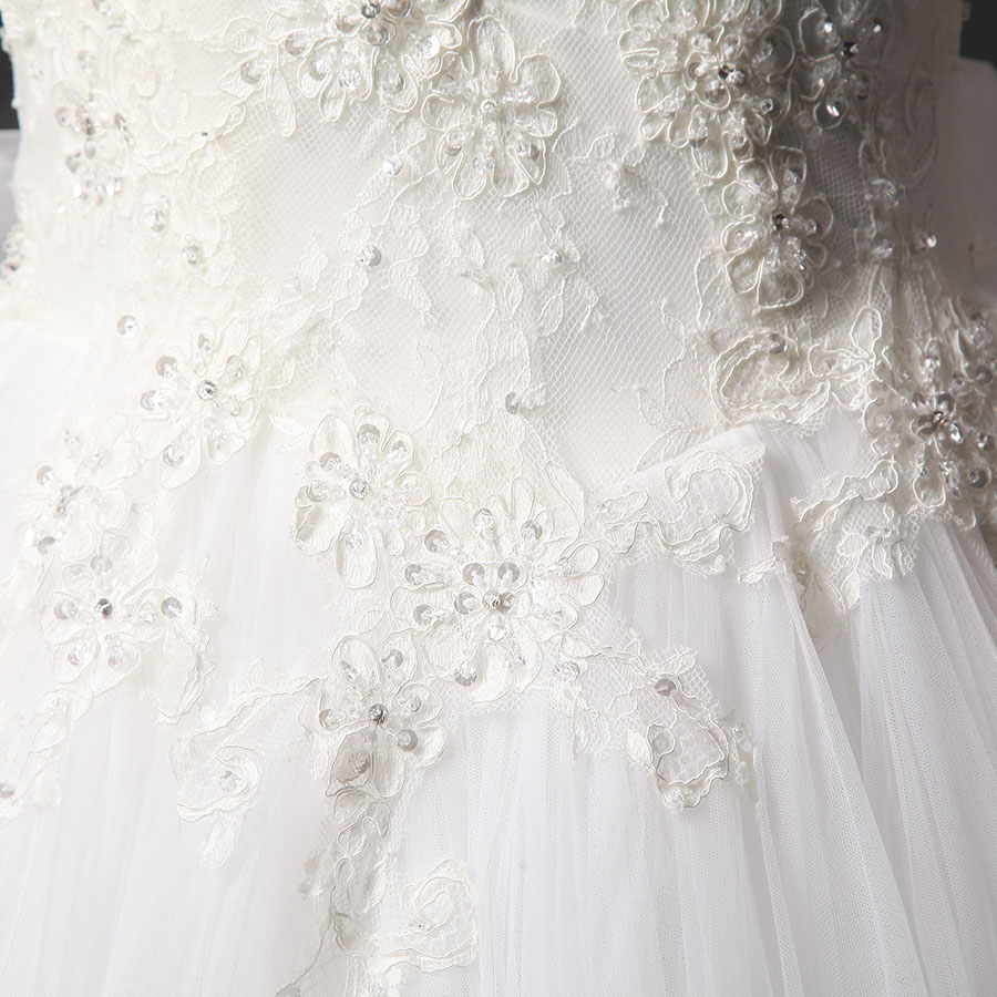 New Design High Neck Natural Tulle Beaded Floor Length Bridal Gown Train High Neck Lace Ball Gown Wedding Dress 2016