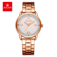JULIUS Brand Women Watches Ladies Big Dial Quartz Watch Luxury Stainless Steel Rose Gold Silver Classic Business Relojes