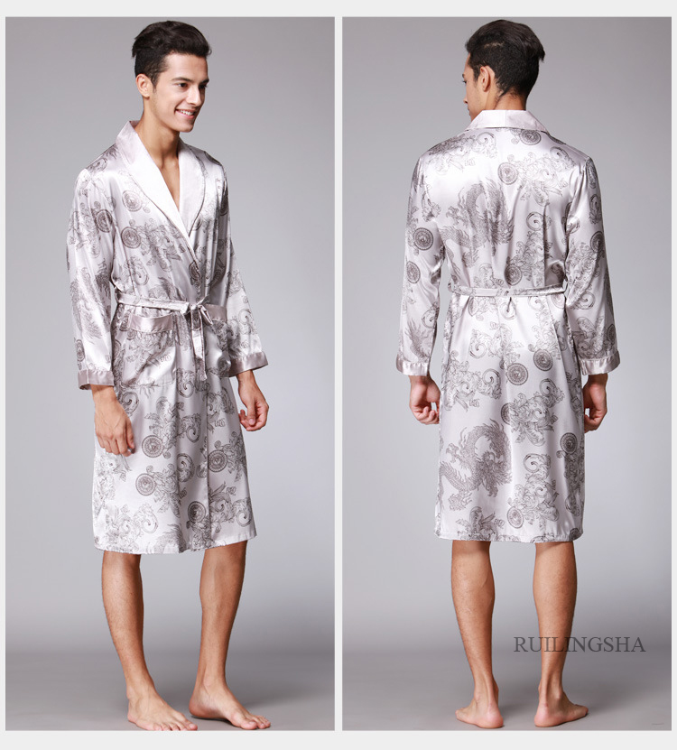 Men Silk Summer and Autumn Satin Kimono Bathrobe Knee Length Long Sleeve Golden Dragon Black Bath Robe Dressing Gown Sleepwear