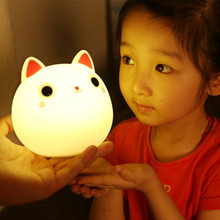 7 colors cute cat lamp colorful light silicone cat night lights children usb led night lamp bedroom rechargeable touch sensor Touch Sensor Colorful LED Cat Night Light Silicone Animal Table Lamp USB Rechargeable Bedroom Bedside Lamp for Children Baby