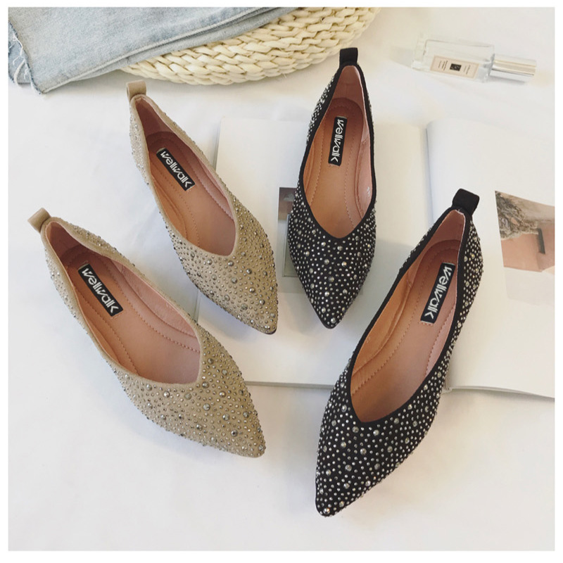 Ladies Shoes 2018 Basic Pointed Toe Ballerinas Fashion Women Crystal Ballet Flats Spring Casual Women Flock Shoes Size 34-38 large size 34 47 women s fashion shoes woman flats spring shoes female ballet shoes metal pointed toe solid casual shoes x2