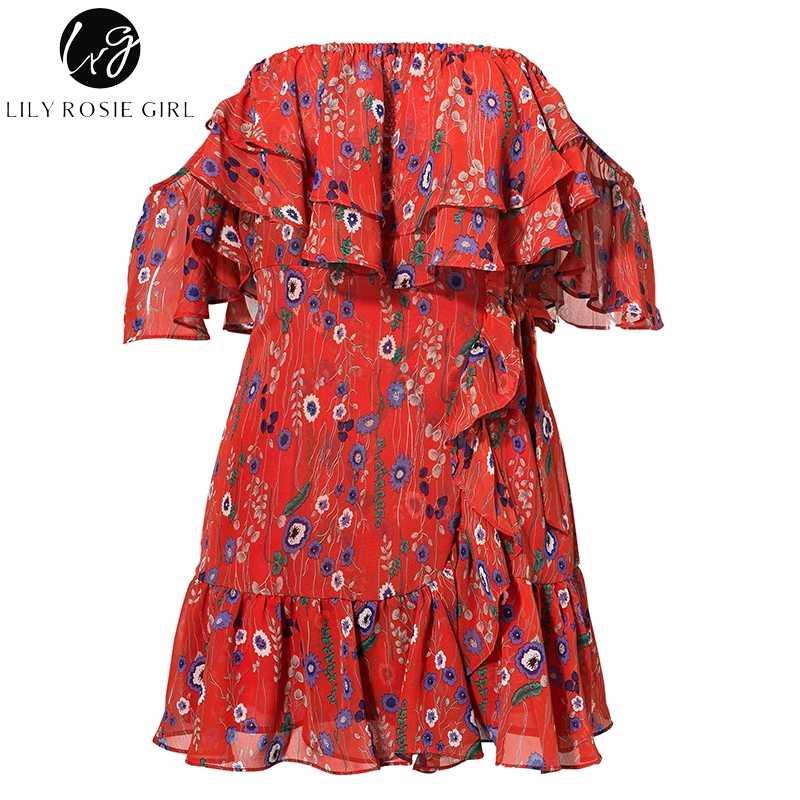 2840189b4ca62 Lily Rosie Girl Ruffles Print Floral Chiffon Dress Red Sexy Strapless  Summer Dress Off Shoulder Mini Boho Beach Dress Vestidos