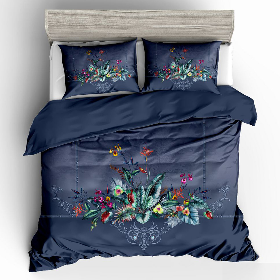 Comfortable, Breathable, Soft Flower Luxury Wedding Bedding Duvet Cover Set Double Full Queen King -1Quilt Cover -2 Pillowcases