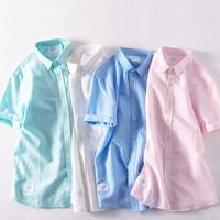 2018 New Short Sleeved Linen Shirt Men Brand Fashion Men Shirts Casual Solid Shirt Mens 4