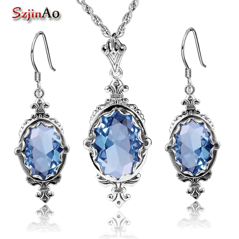Szjinao Charms 925 Sterling Silver Indian Bridal Jewelry Sets Oval Design Blue Rhinestone Crystal Pendant Earrings Set For Women ethiopian wedding jewelry sets blue rhinestone crystal for women 925 sterling silver earrings ring pendant bridal jewelry set