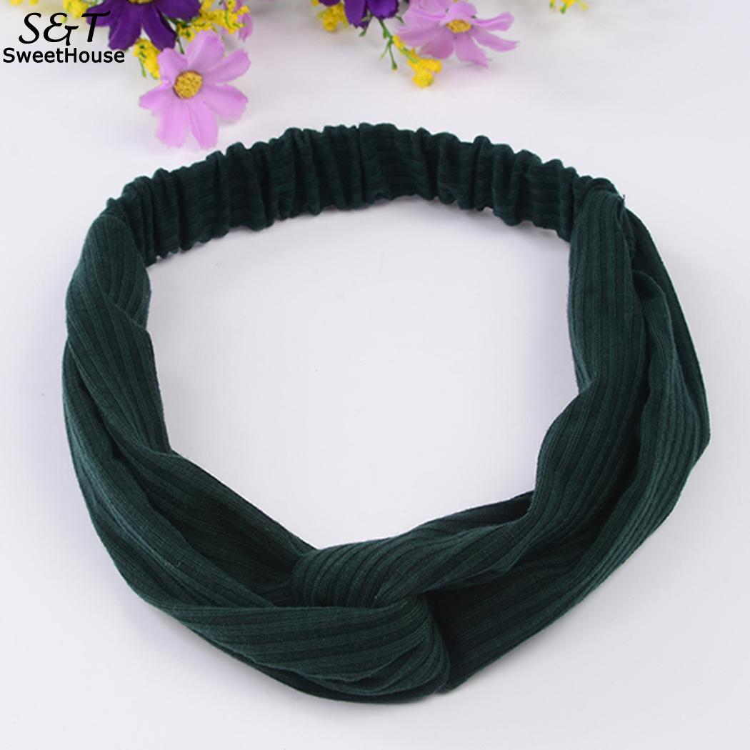 Temperament Women Headband Knit Cross Bow Wild Sport Solid Color Hair Band