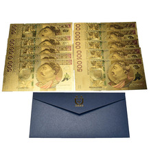 10pcs Unissued Poland Currency colored 24K gold Foil Bill Banknote 500 PLN Bank gifts