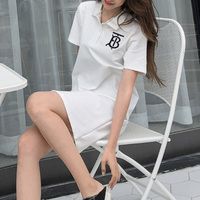 Polo Short Sleeve White Loose Preppy Style Dresses Letter Embroidery Women's Dress T Shirts Woman Cloth Famale Holiday Clothes