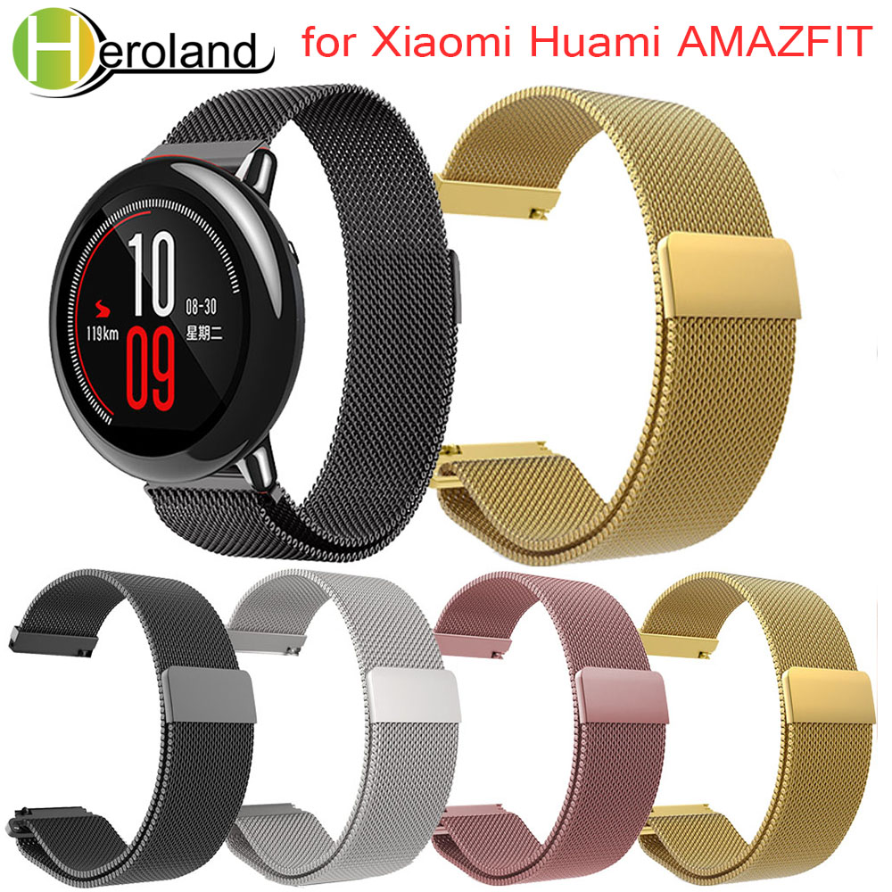 Wrist Strap for Xiaomi Huami Amazfit Watch Band Bracelet Milanese Loop Magnetic Straps for Xiaomi Huami Amazfit Pace Stratos 2 milanese loop for xiaomi huami wrist watchband for xiaomi hua mi amazfit smart watch