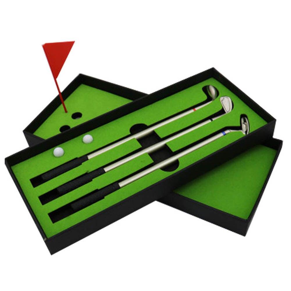 1 Set Golf Accessories 3pcs Golf Clubs Models Ballpoint Pens 2 Balls Flag Putter Kit Set Gift Golf Ballpoint Pen creative golf club style ballpoint pens set 3 piece pack