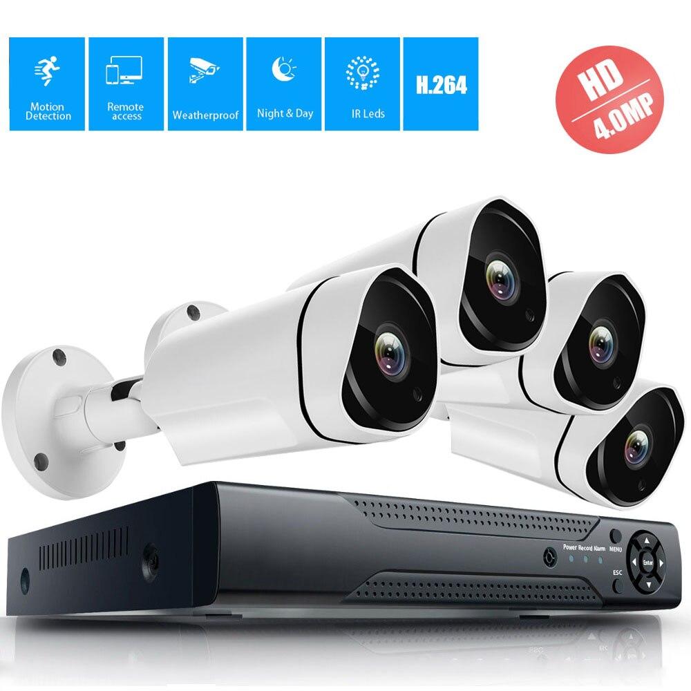 4CH 4MP 4.0MP Kit de Vigilância de Vídeo Sistema de Câmera de Segurança CCTV Sistema de Câmera AHD Bala Ao Ar Livre Câmera DVR Gravador de Vídeo