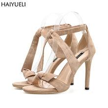 Sapatos Femininos 8cm And 10cm High Heel Shoes Summer Bow Heels Sandals Women Black Suede Ladies Office Dress