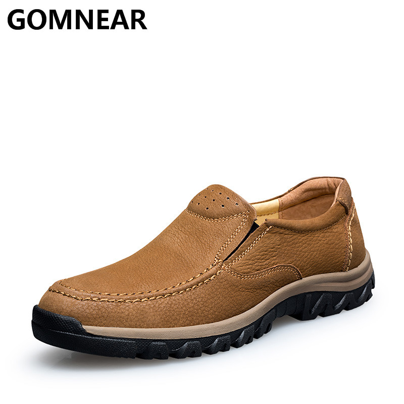 GOMNEAR Men s Genuine Leather Hiking Shoes Waterproof Outdoor Shoes Winter Antiskid Trekking Shoes Breathable Hiking