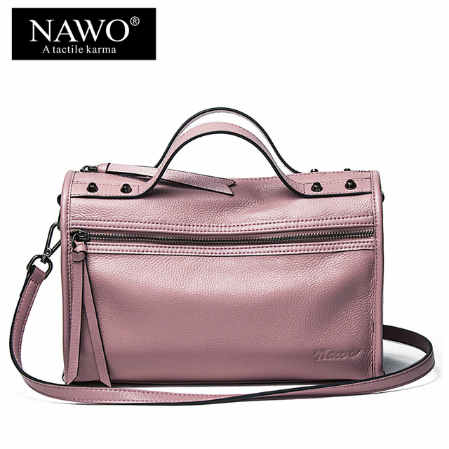 019ea6484b NAWO Rivet Women Shoulder Bags Cow Genuine Leather Boston Women Totes  Handbags Luxury Brand Fashion Small Ladies Crossbody Bags
