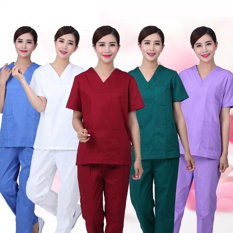 Women's Fashion Scrub Set Nursing Scrubs V-neck Top With Side Vent + Elastic Waistline Pants Medical Uniforms Cotton Surgery