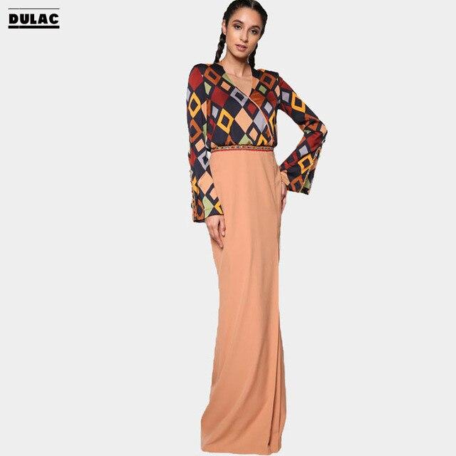 Advanced Customization Wholesale Middle East Malaysia Beading Women Fashion  V-Neck Long Dress Clothing Muslim Print Baju Kurung 10fb3c9480bc