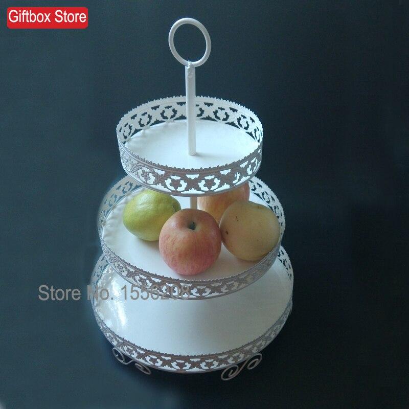 Présentoir à Cupcake en fer forgé blanc à 3 niveaux support de Dessert de mariage