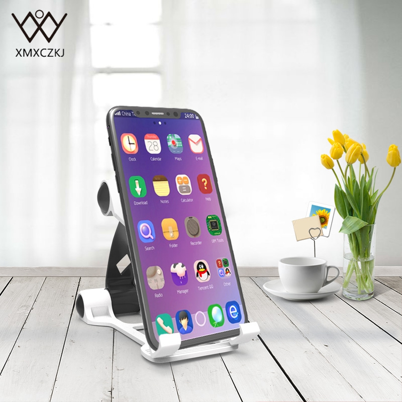 XMXCZKJ Universal Mobile phone Stand Holder Portable Foldable Desktop Cell Phone Tablet Holder Desk Stand for iPhone 8 X Samsung