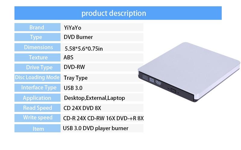 US $24 9 16% OFF YiYaYo External USB 3 0 CD/ DVD RW CD ROM Optical Drive  Ultra Slim Portable/Burner for Windows 10 for MAC OS linux-in Optical  Drives