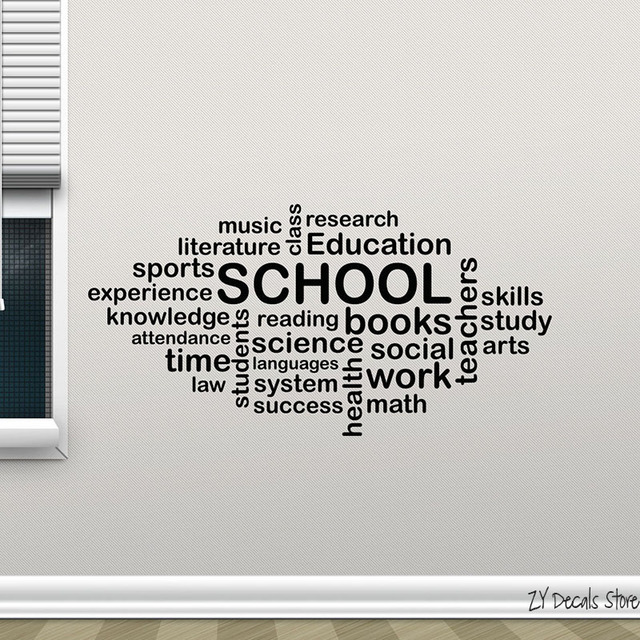 School Wall Decal Words Cloud Art Education Quote Vinyl Sticker