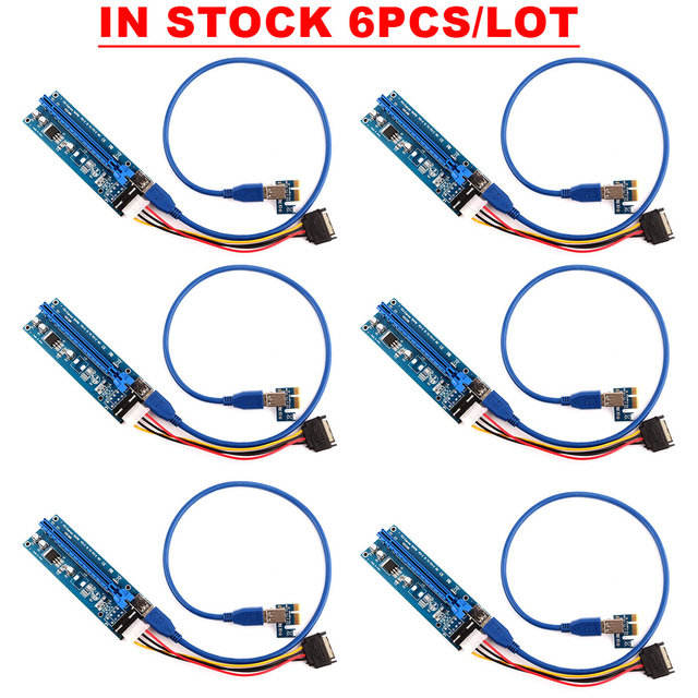 Ubit IN-STOCK For Bitcoin 6 PCS/Lot 1x to 16x Express Extender Riser Card USB 3.0 PCI-e Extension SATA 15pin to 4pin Power Cable