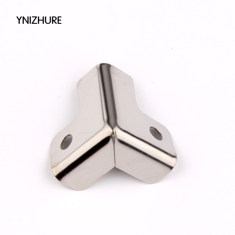 50pcs 25*22mm Furniture Protection Wedge Box Cosmetics Cases Suitcase Iron Purses Chrome Silver Corner Stainless Steel Box