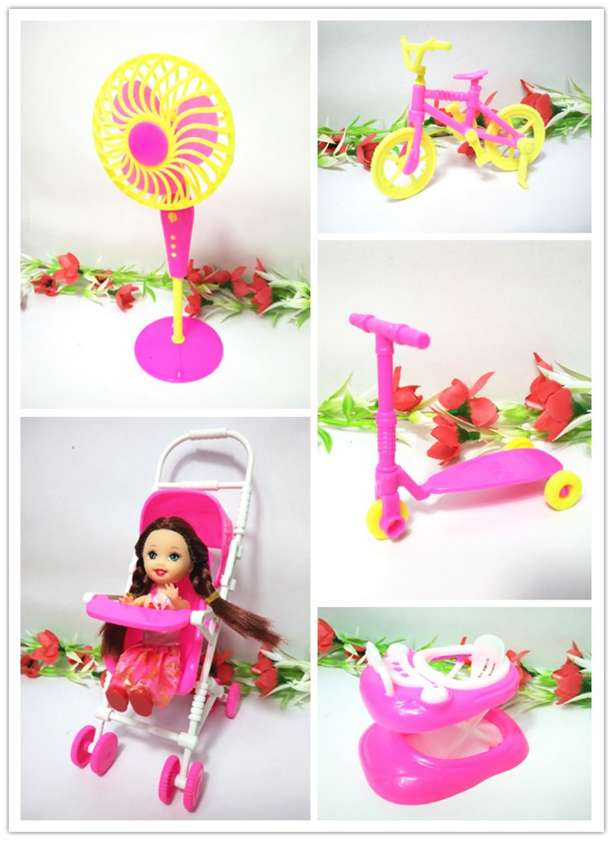 Toys Woman Birthday Present(Kelly doll+Bike+Fan+Walker+Trolley)Equipment for Barbie Doll Home Traditional Toys for Woman Free Delivery