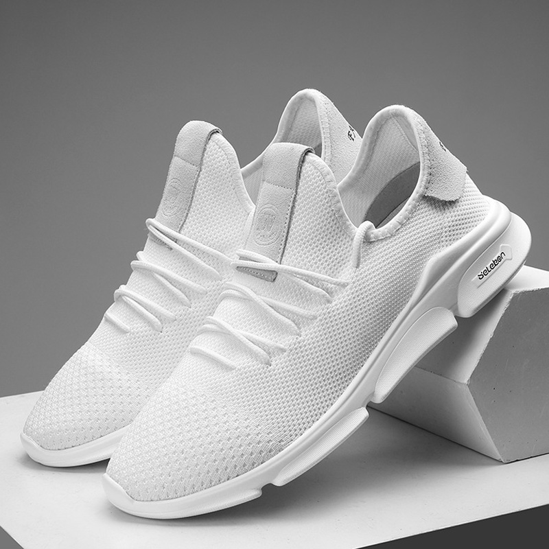 LAKESHI Men Casual Shoes Light Mesh Sneakers White Breathabl